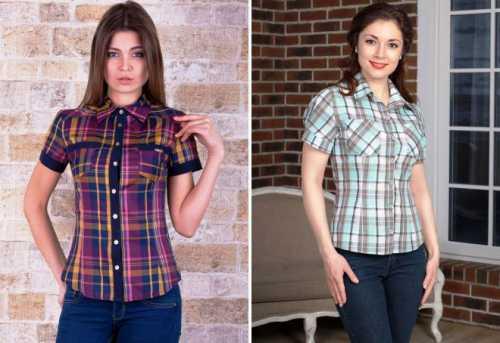 Модная женская рубашка в клетку – красная и синяя, черно