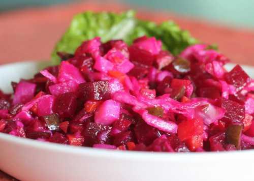 Как приготовить винегрет с фасолью, с кислой капустой, с грибами, с горошком и яблоком загрузка комментариев давно делаю винегрет из маринованной капусты, совсем другой на вкус