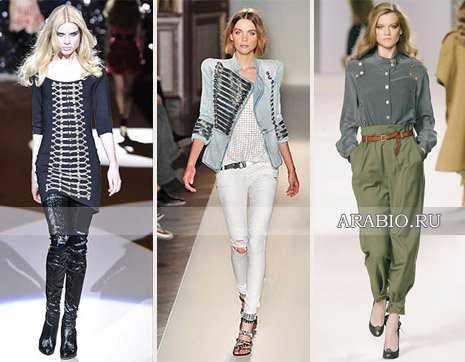 Камуфляжный стиль милитари в женской одежде года представлен модными ветровками болотного цвета, пятнистыми купальниками, шляпками, юбками и платьями, напоминающими собой армейскую униформу
